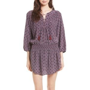 JOIE CORA B SILK PRINT TASSEL TIE DRESS